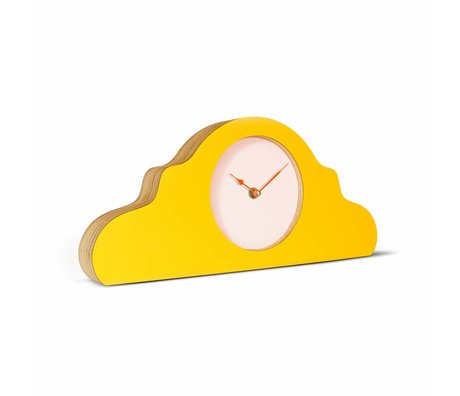 KLOQ Mantel clock yellow pink orange wood 380x168x42cm
