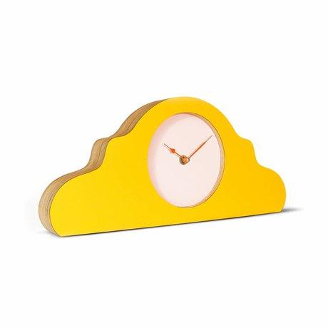 KLOQ Mantel klok geel roze oranje hout 380x168x42cm