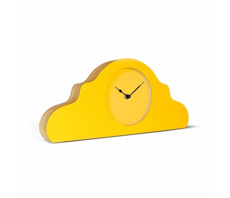 KLOQ Mantel clock yellow black wood 380x168x42cm