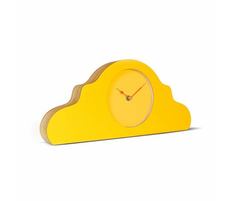 KLOQ Mantel clock yellow orange wood 380x168x42cm