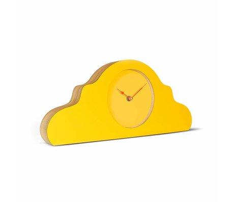 KLOQ Mantel klok geel oranje hout 380x168x42cm