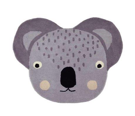 OYOY Tapis Koala coton gris 100x85cm