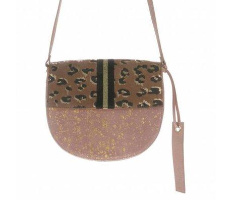 HK-living sac à main Funky multicolore daim et cuir 25x22x8cm