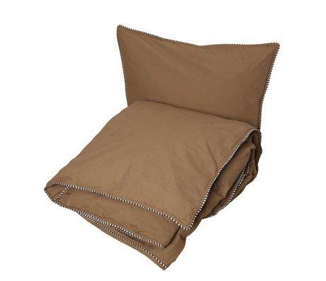 OYOY Dekbedovertrek Haikan extra length rubber bruin 60x63-140x2200cm