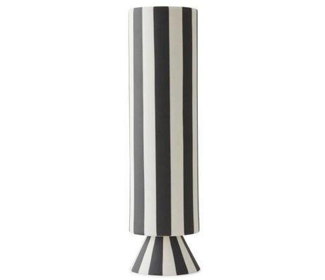 OYOY Vaas Topu hoog zwart wit keramiek 31x8,5cm