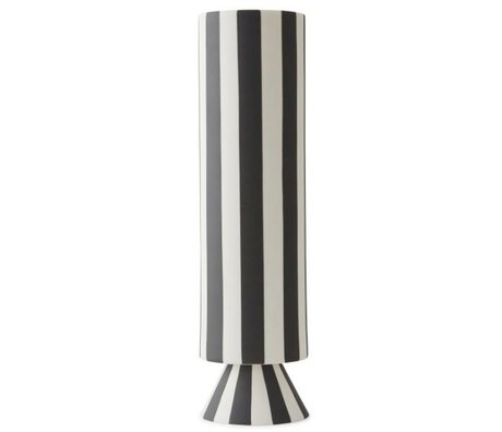 OYOY Vase Topu high black white ceramics 31x8,5cm