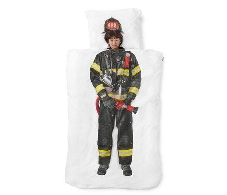 Snurk Beddengoed Duvet 'Feuerwehrmann' weiß / multicolor Baumwolle 140x200 cm