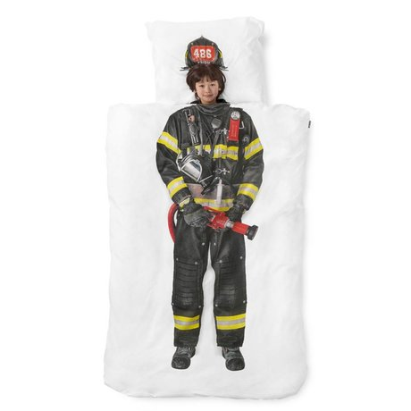 Snurk Beddengoed Duvet 'Firefighter' white / multicolor cotton 140x200 cm