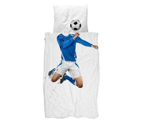 Snurk Beddengoed couverture de football couette bleue 140x200 / 220cm incl taie 60x70cm