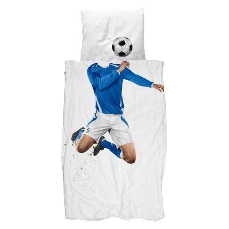 Snurk Beddengoed Dekbedovertrek Soccer blauw 140x200/220cm incl kussensloop 60x70cm