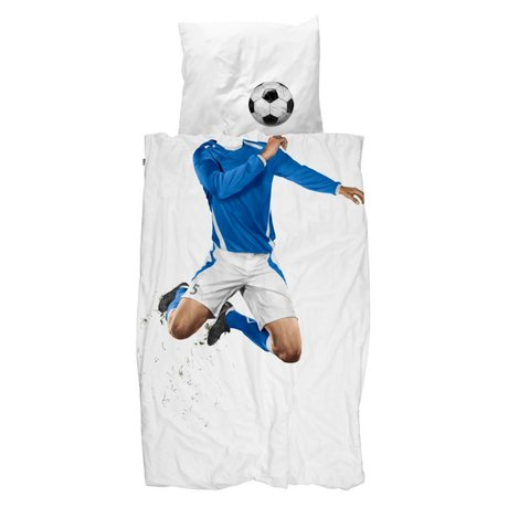 Snurk Beddengoed Soccer blue duvet cover 140x200 / 220cm incl pillowcase 60x70cm