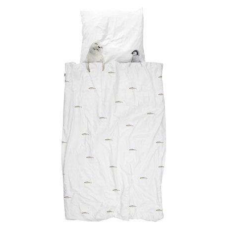 Snurk Beddengoed Housse de couette Artic friends flanelle blanche 140x200 / 220cm + 60x70cm