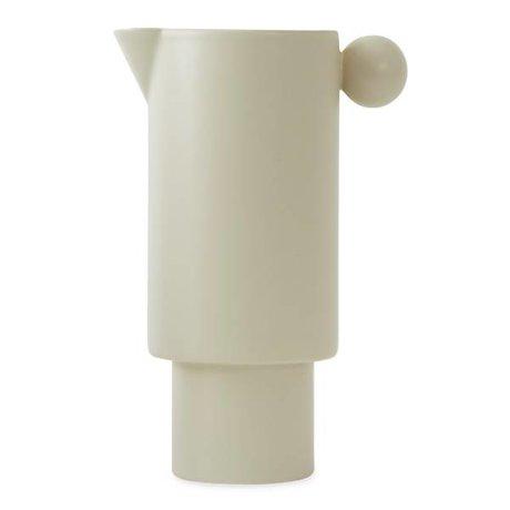 OYOY Boîte de conserve en céramique blanche cassée 14x22cm
