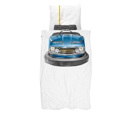 Snurk Beddengoed Dekbedovertrek Bumper Car blauw wit katoen 140x200/220cm + 60x70cm