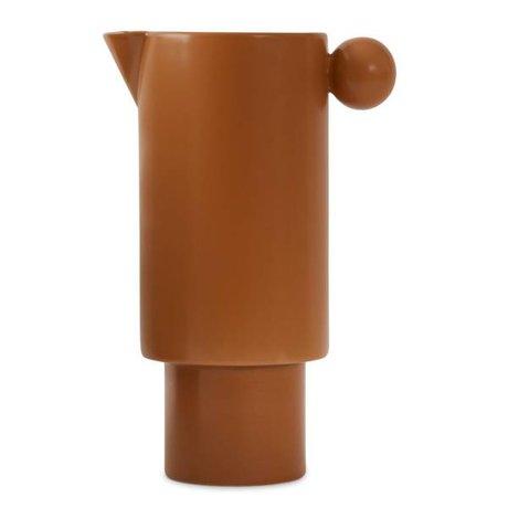 OYOY Boîte de conserve en céramique caramel brun 14x22cm