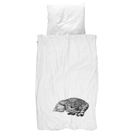 Snurk Beddengoed Duvet cat ollie in 3 sizes white