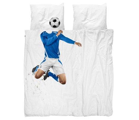 Snurk Beddengoed couverture de football couette bleue 200x200 / 220cm incl taie 60x70cm