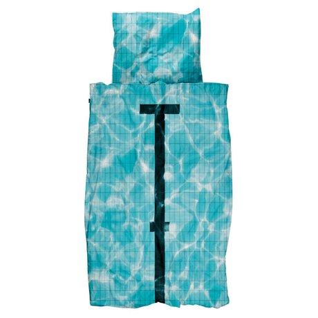 Snurk Beddengoed Duvet 'Pool' blauer Baumwolle 3 Größen