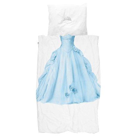 Snurk Beddengoed Housse de couette Princess bleu bleu coton blanc 140x200 / 220cm + 60x70cm