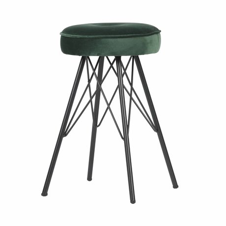 LEF collections Hocker Bella warmes grünes Samtmetall 33x33x53cm