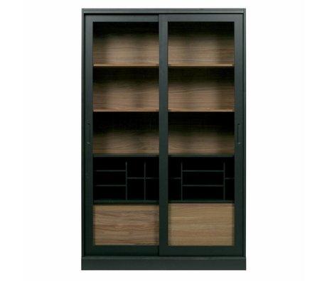 WOOOD Display cabinet James black walnut wood 125x47x200cm