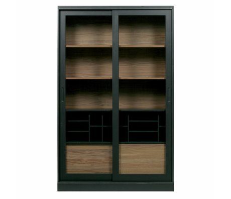 WOOOD Vitrine James bois de noyer noir 125x47x200cm