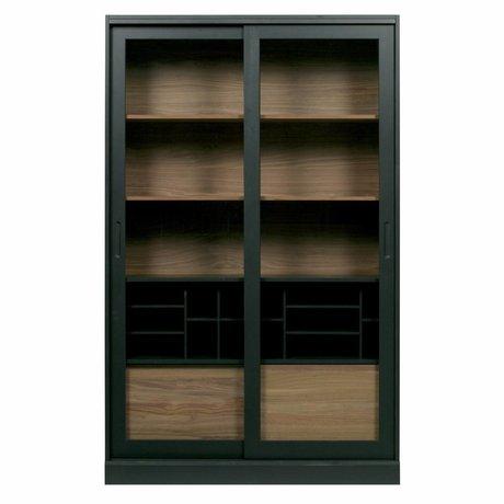 WOOOD Vitrinekast James zwart noten hout 125x47x200cm