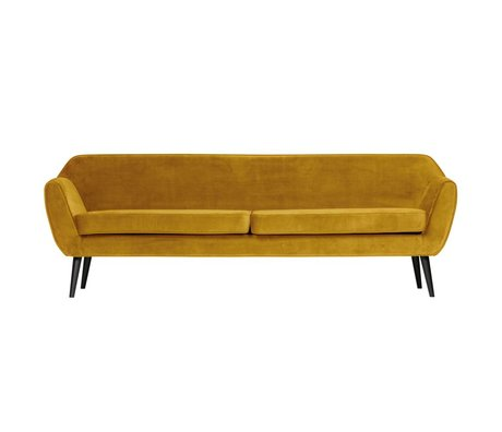 LEF collections Sofa Rocco XL ockergelber Samtpolyester 230x82x75cm