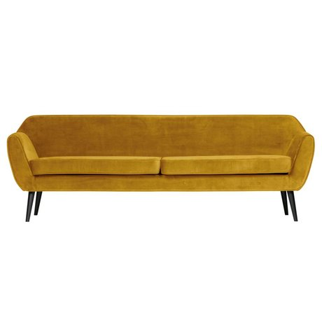 LEF collections Sofa Rocco XL ocher yellow velvet polyester 230x82x75cm
