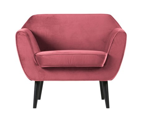 LEF collections Fauteuil Rocco velours rose polyester 92x81x75cm
