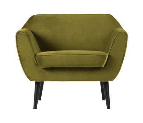 LEF collections Armchair Rocco olive green velvet polyester 92x81x75cm