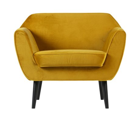 LEF collections Fauteuil Rocco velours jaune ocre polyester 92x81x75cm
