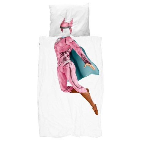 Snurk Beddengoed dekbedovertrek Superhero pink katoen 140x200/220cm