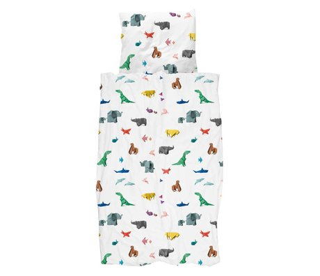 Snurk Beddengoed Dekbedovertrek Paper Zoo multicolour katoen 140x200/220cm + 60x70cm