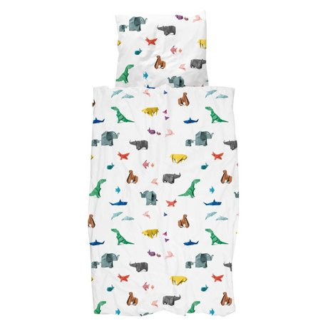 Snurk Beddengoed Bettbezug Papier Zoo mehrfarbige Baumwolle 140x200 / 220cm + 60x70cm