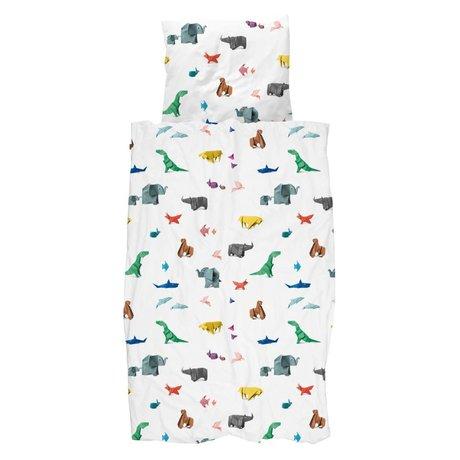 Snurk Beddengoed Enveloppe de couette Paper Zoo multicolore en coton 140x200 / 220cm + 60x70cm