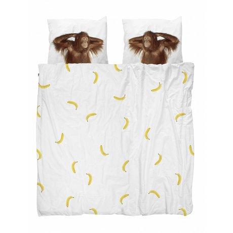 Snurk Beddengoed Housse de couette Banana Singe 240x200 / 220 comprenant deux taies d'oreiller 60x70cm