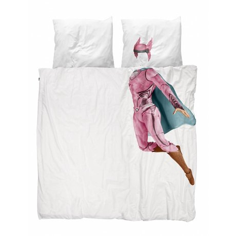 Snurk Beddengoed Housse de couette Superhero rose 200x200 / 220cm