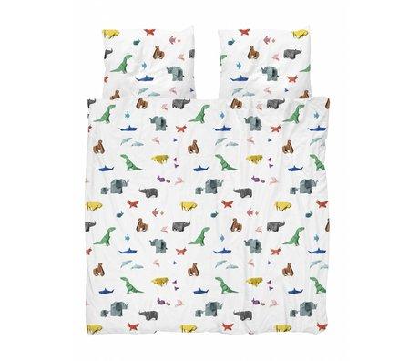 Snurk Beddengoed Enveloppe de couette Paper Zoo multicolore en coton 200x200 / 220cm + 2 / 60x70cm