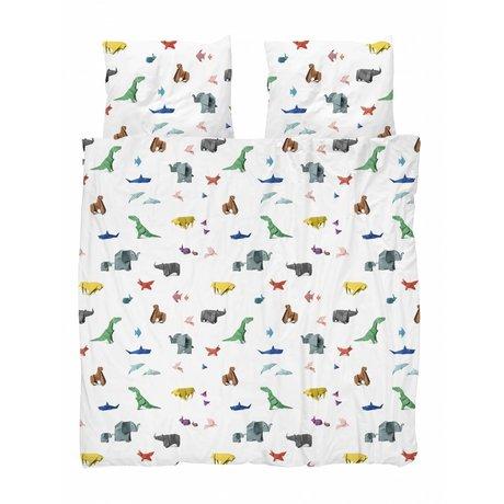 Snurk Beddengoed Duvet cover Paper Zoo multicolour cotton 200x200 / 220cm + 2 / 60x70cm