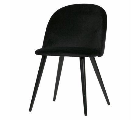 LEF collections Eetkamerstoel Fay zwart fluweel set van 2 58x50x77cm