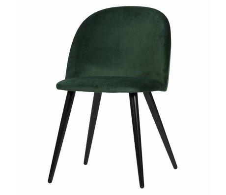 LEF collections Eetkamerstoel Fay donker groen fluweel set van 2 58x50x77cm