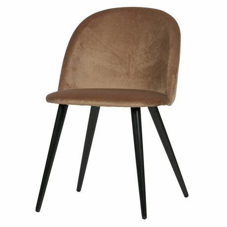 LEF collections Dining chair Fay light brown velvet set of 2 58x50x77cm