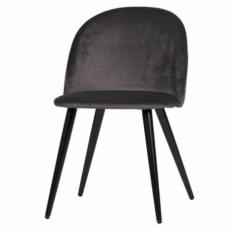 LEF collections Eetkamerstoel Fay antraciet grijs fluweel set van 2 58x50x77cm
