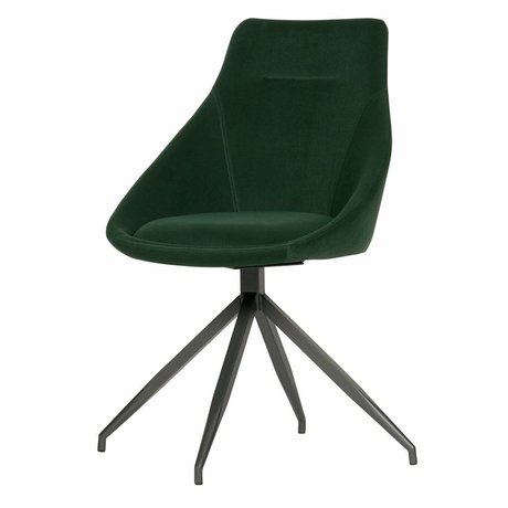 WOOOD Dining chair Resa bottle green velvet set of 2 53x60x88cm