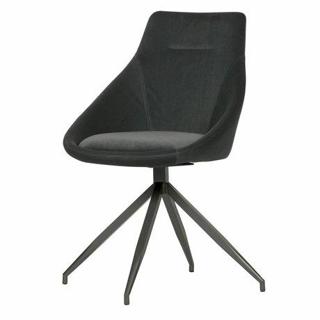 WOOOD Chaise de salle à manger Resa en velours gris anthracite, lot de 2 53x60x88cm
