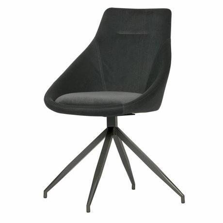WOOOD Dining chair Resa anthracite gray velvet set of 2 53x60x88cm