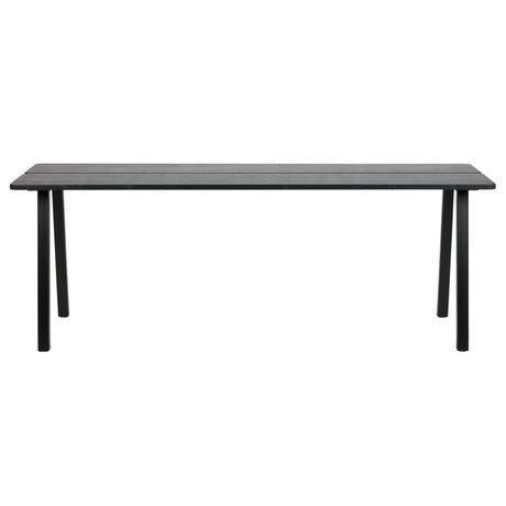 LEF collections Eettafel Triomf mat zwart hout metaal 210x77x74,5cm
