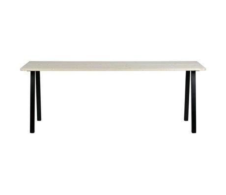 LEF collections Table à manger Triumph marron noir bois non traité métal 210x77x74,5cm