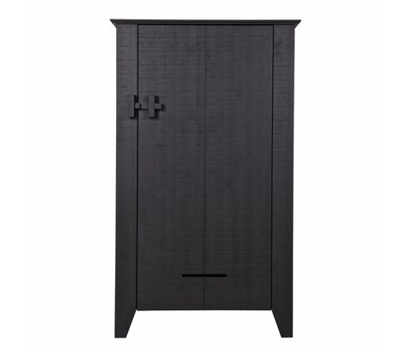 LEF collections Farmers cupboard Gijs black sawn pine 85x38x142cm